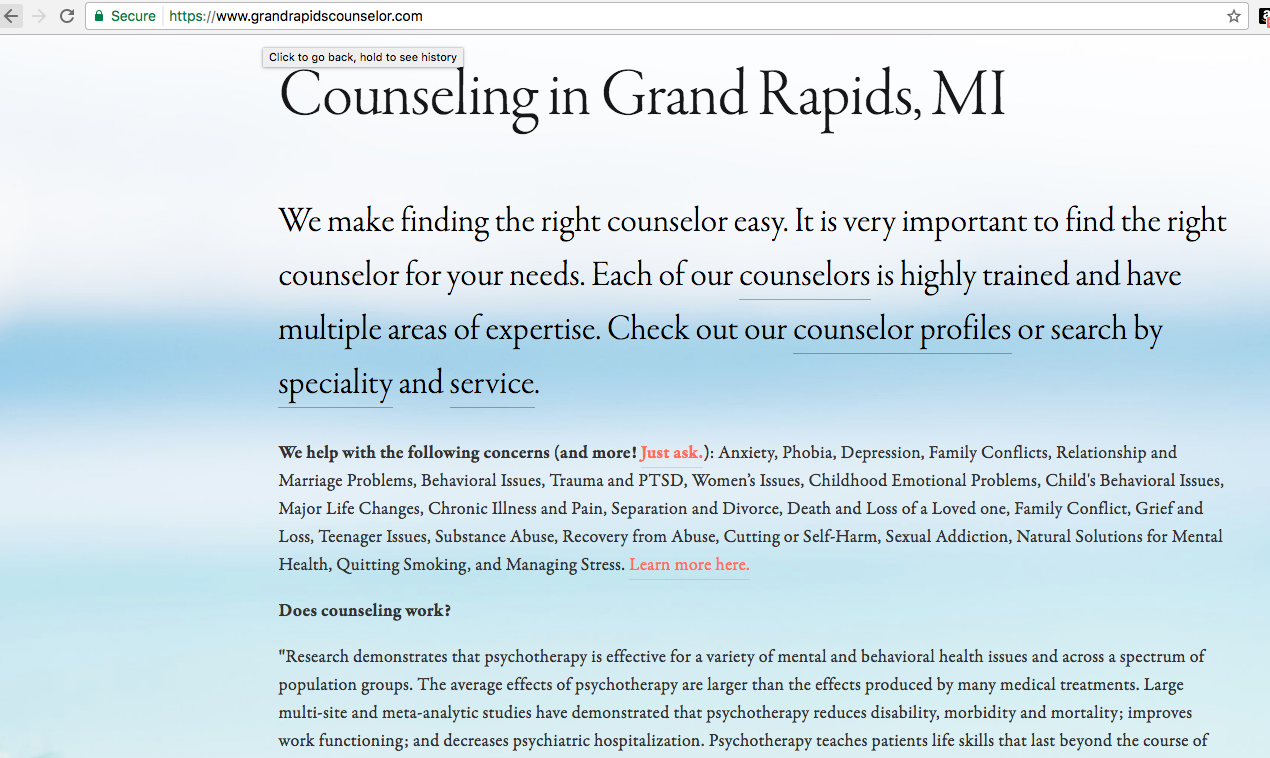Grand Rapids Counselor, a health care resource for the people Grand Rapids, MI